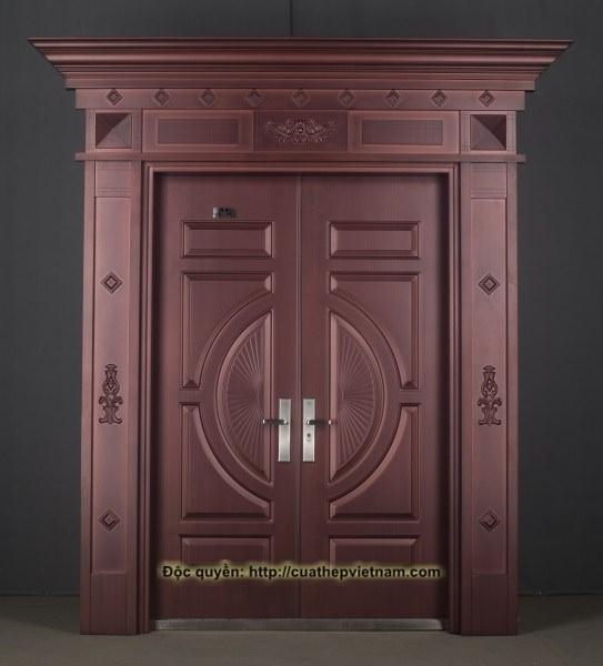 cửa thép giả đồng, cửa đồng, cửa roman giả đồng, cửa biệt thư, cửa đồng việt nam